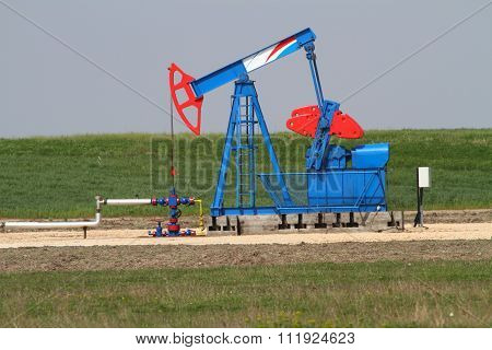 Blue And Red Oil Well