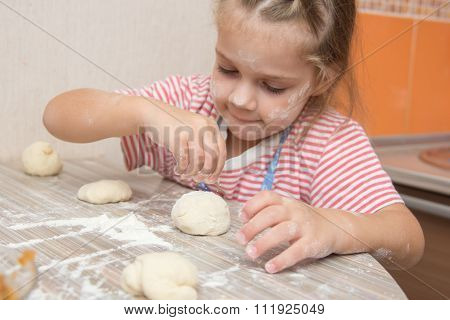 Girl With Enthusiasm Floured Pastry Stuck Together