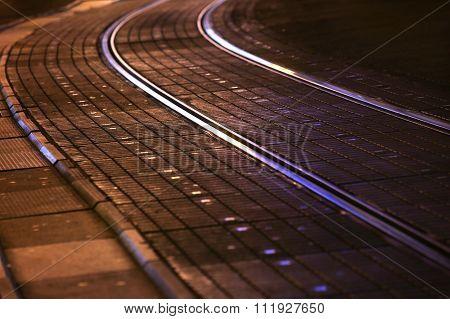 Tram Rails In City