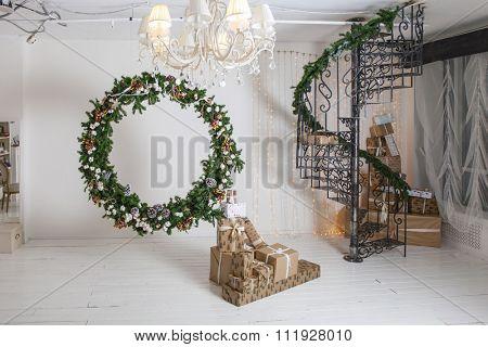 Christmas wreath - photo Studio interior without people