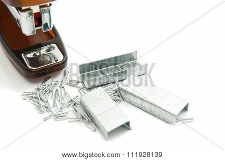 Orange Plastic Stapler And Staples