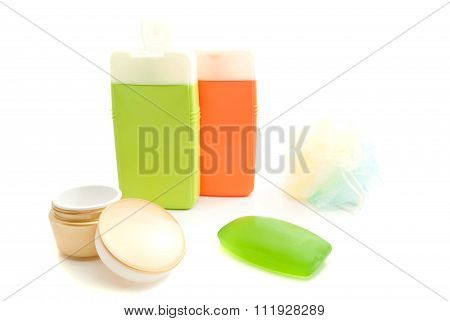 Golden Jar Of Cream And Other Toiletry