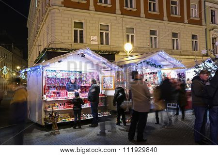 Christmas Souvenir Stands In Zagreb