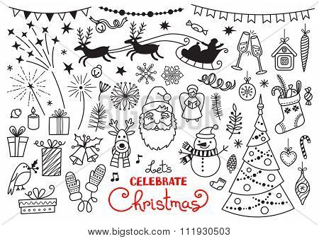 Christmas doodle set of characters and decorations. Freehand vector drawings isolated over white bac