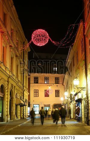 Red Advent Decoration In The Street
