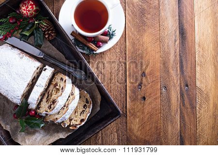 Christmas stollen with tea