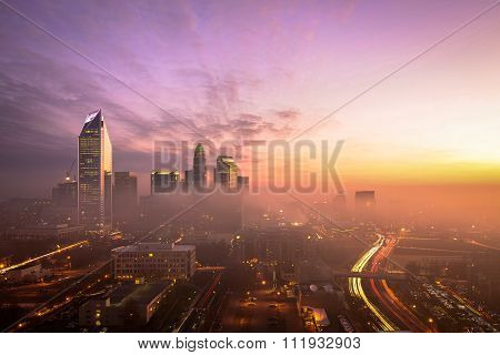 Foggy Charlotte, North Carolina Sunrise