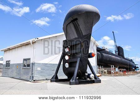 Submarine Bow with Torpedoes: Fremantle, Western Australia