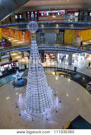 Shining Christmas Tree In Shopping Mall.