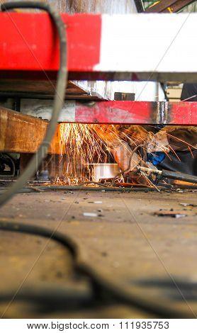 Grinding Steel Under View