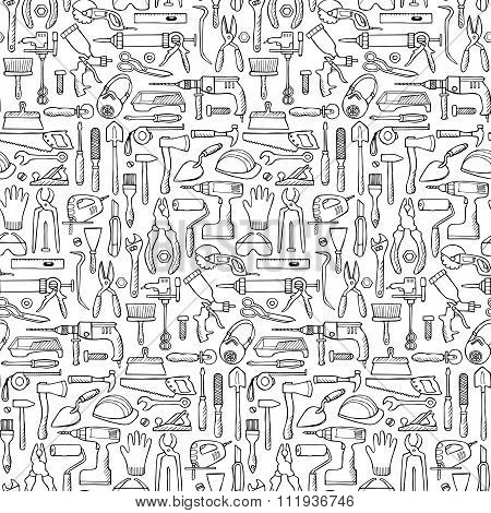 Hand drawn seamless pattern with repair tools