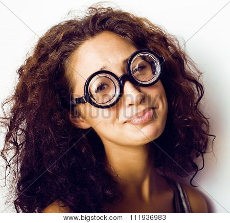 bookworm, cute young woman in glasses, curly hair, teenage