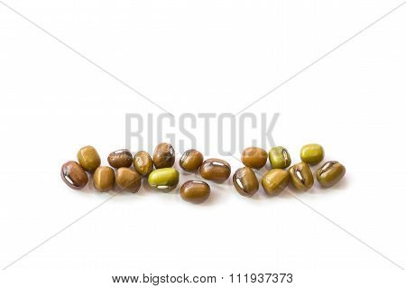 Macro Mung Bean Isolated On White