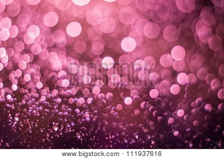 Abstract Blurred Pink Light From Water Drop At The Windscreen Bokeh Background