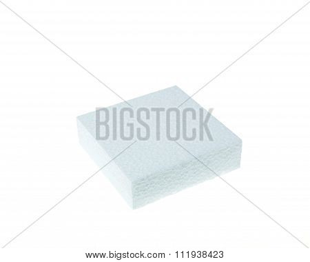 White Foamed Polystyrene Isolated On White Background