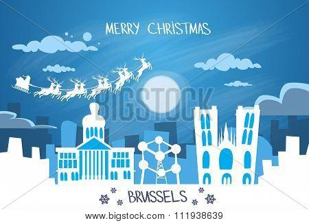 Santa Claus Sleigh Reindeer Fly Belgium Sky over Brussels City Silhouette