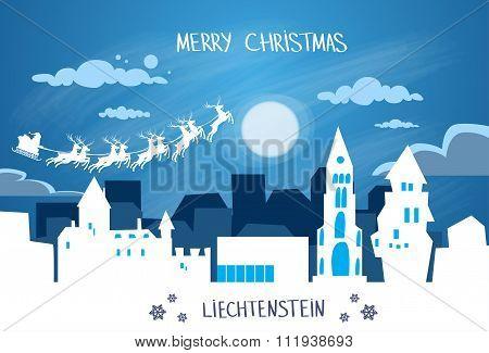 Santa Claus Sleigh Reindeer Fly Sky over Liechtenstein Silhouette Night