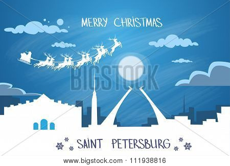 Santa Claus Sleigh Reindeer Fly Russian Sky over Saint Petersburg City Silhouette