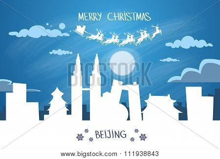Santa Claus Sleigh Reindeer Fly China Asia Sky over Beijing City Silhouette