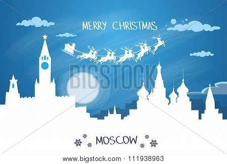 Santa Claus Sleigh Reindeer Fly Russian Sky over Moscow City Silhouette Night