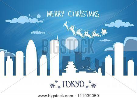 Santa Claus Sleigh Reindeer Fly Japan Sky over Tokyo City Silhouette Night