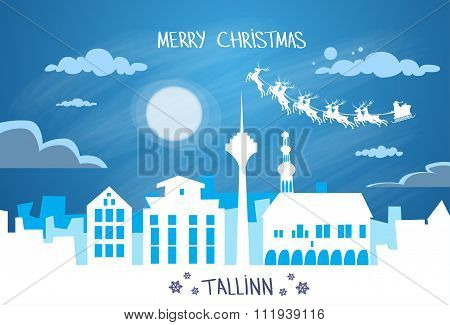 Santa Claus Sleigh Reindeer Fly Estonia Sky over Tallinn City Silhouette Night