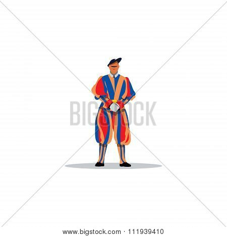 Swiss guards of the Vatican. Vector Illustration.