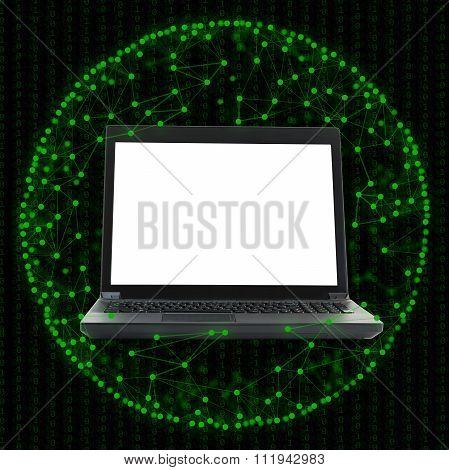 Laptop with blank screen on green