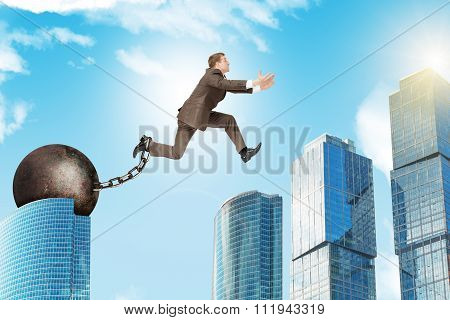 Young man jumping over gap