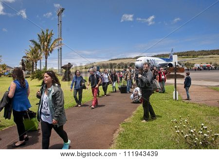 Hanga Roa, Ester Island, Chile - November 8, 2015: Tourists At T