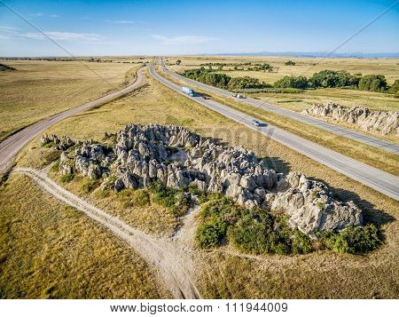 aerial view  of interstate highway I-25 in northern Colorado at Natural Fort, historical and geological landmark