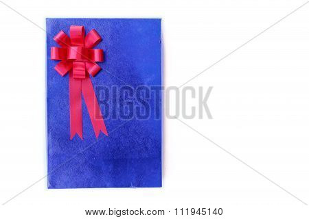 Close Up Blue Gift Box  Isolated On White