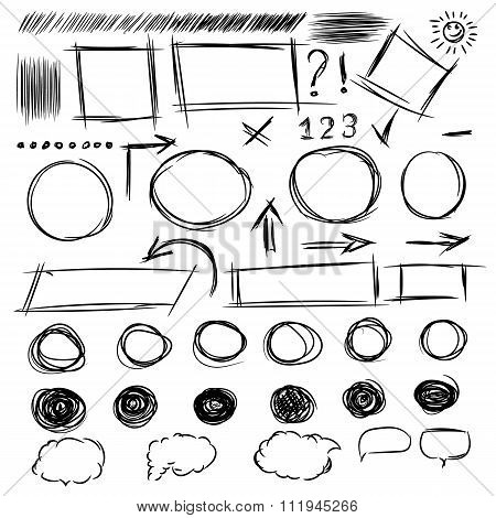 Pencil Sketches.hand Drawn Scribble Shapes A Set Of Doodle Line