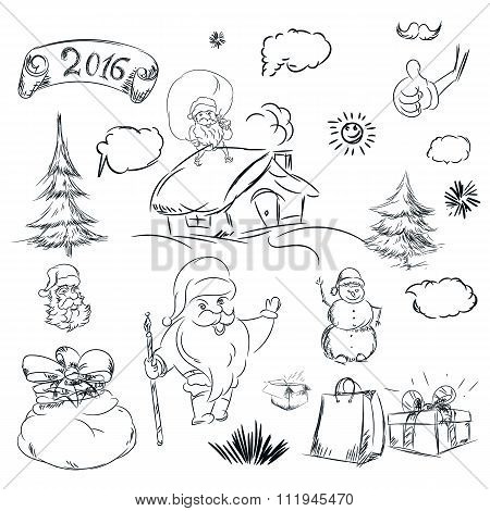 Pencil Sketch For Christmas With Christmas Tree And House.