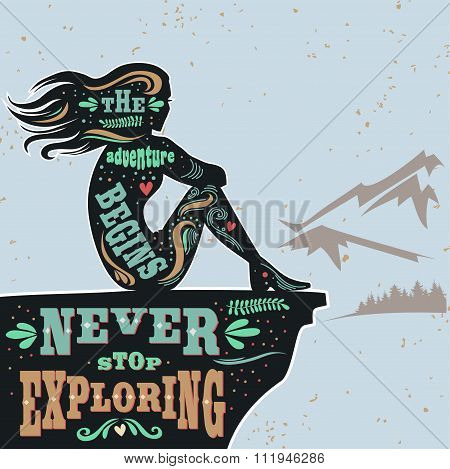 Motivation And Inspiration Poster With Girl And Mountains.