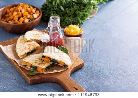 Quesadillas with kale and sweet potato