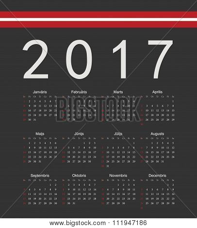 Square Black Latvian 2017 Year Vector Calendar