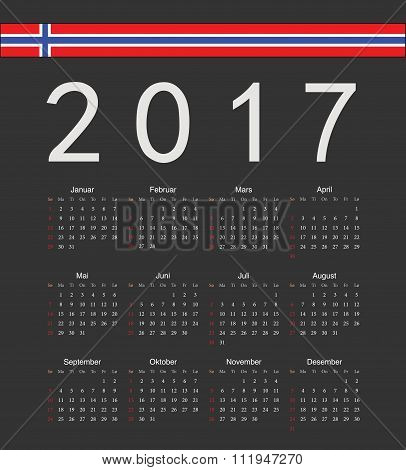 Square Black Norwegian 2017 Year Vector Calendar