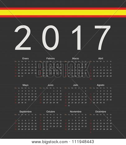Square Black Spanish 2017 Year Vector Calendar
