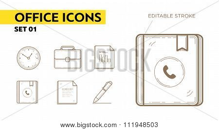 Line icons with flat design elements of office appliances - clock, portfolio, files, contact book an