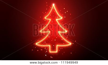 Glowing Neon Christmas Tree With Sparkles