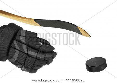 Hockey Stick, Glove And Washer