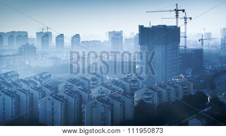 Blue Toned Cityscape Of Modern Hangzhou, China