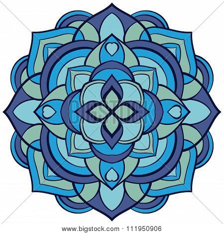 Mandala In Blue Tones.
