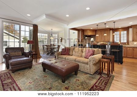 Family room with view into kitchen and breakfast area