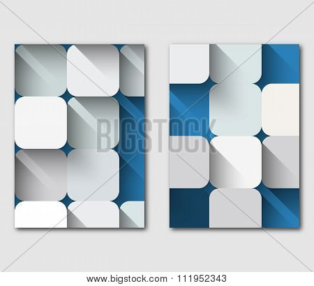 White squares mosaic with shadow on a blue backgrounSet Of Technology Business Flyer Template Design
