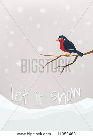 'Let it snow' - winter holidays postcard. Little bullfinch sitting on a bare brunch.