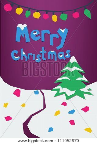 Merry Christmas paper cut greeting card, postcard. Colorful paper craft design, cut out by scissors