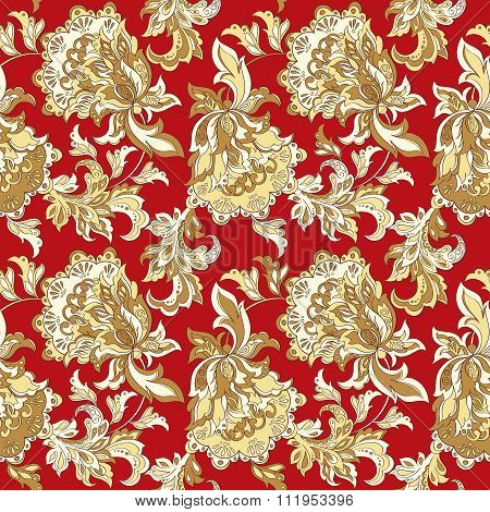 ethnic floral seamless pattern.