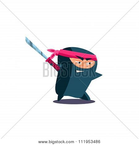 Cute Emotional Ninja with Katana